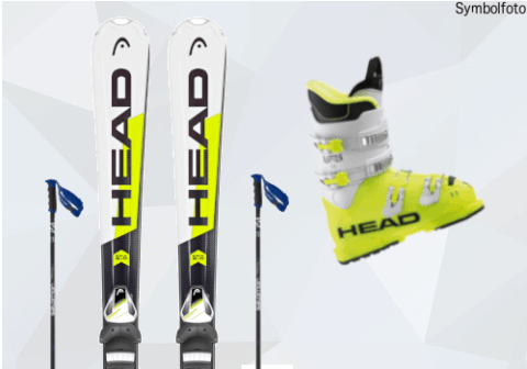 Head Ski, Skistöcke, Head Skischuhe, Jugendliche, Mogasi