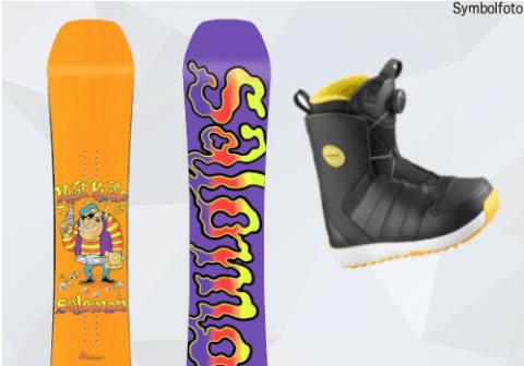 Salomon Snowboard, Vorder- und Rückseite, Snowboardschuhe, MOGASI