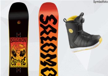 Salomon Snowboard für Jugendliche, Vorder- und Rückseite, Snowboardschuhe, Mogasi