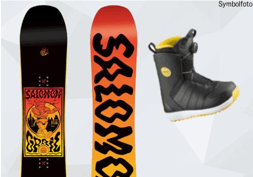 Salomon Snowboard für Jugendliche, Vorder- und Rückseite, Snowboardschuhe, Mogasi, Snowboard-Set Jugend Fortgeschritten