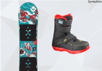 Burton Snowboard für Kinder, Salomon Snowboardschuhe für Kinder, Mogasi, Snowboard-Set Kinder