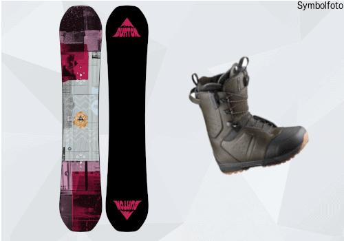 Burton Snowboard für Erwachsenen, Vorder- und Rückseite, Anfänger, Snowboardschuhe, Mogasi