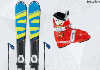 Salomon Ski für Kinder, Salomon Skistöcke, Head Skischuhe für Kinder, Mogasi, Ski-Set Kinder