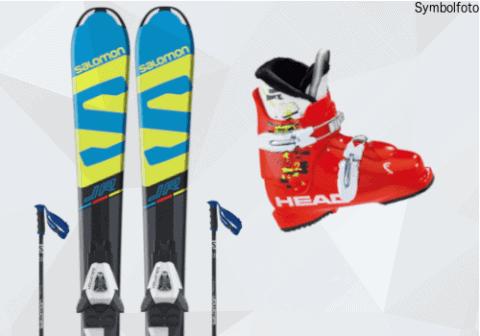 Salomon Ski für Kinder, Salomon Skistöcke, Head Skischuhe für Kinder, Mogasi