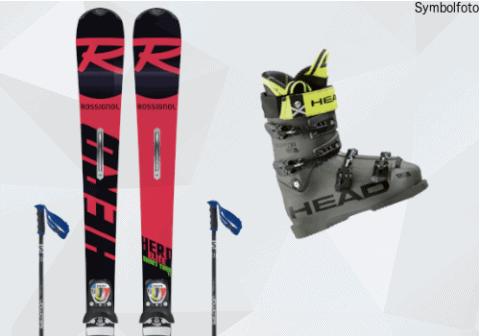 Rossignol Ski, Salomon Stöcke, Head Skischuhe, Mogasi