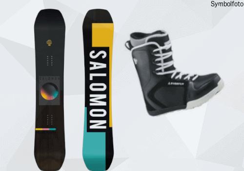 Salomon Snowboard für Erwachsenen, Vorder- und Rückseite, Anfänger, Snowboardschuhe, Mogasi
